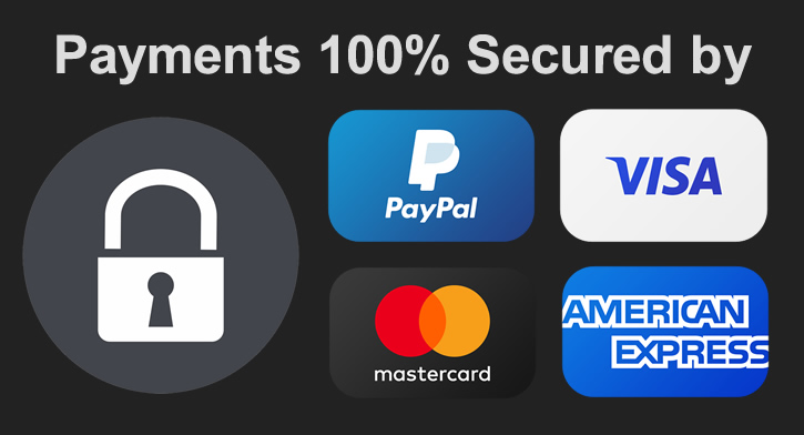 Payments on this website are 100% secured by Paypal and Secure Socket Layer encryption technology.